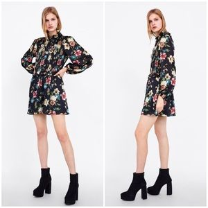 NWT Zara Floral Print Jumpsuit in Black